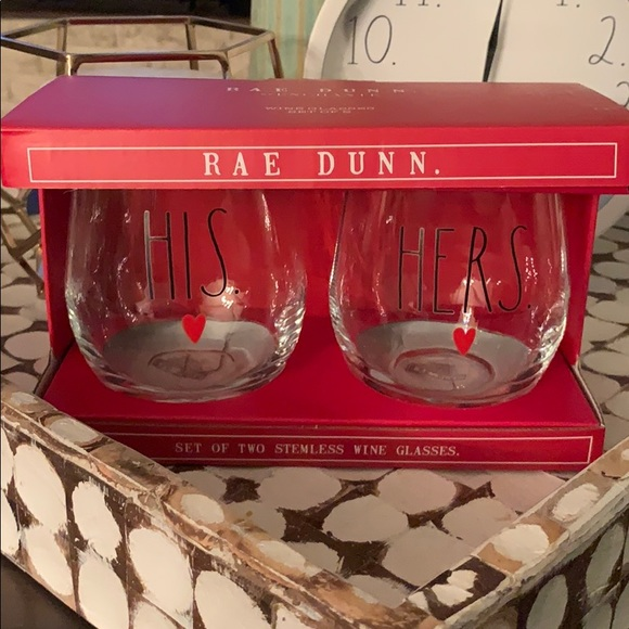✨NEW! Rae Dunn 'His & Here' Stemless Wine Glasses